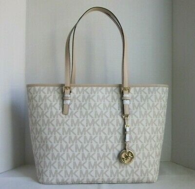 Michael Michael Kors Vanilla Jet Set Travel Top Zip Tote Bag Handbag Purse