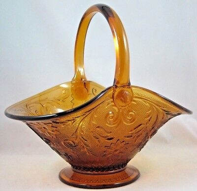 "LARGE 11"" TIARA INDIANA GLASS AMBER SANDWICH HANDLED BASKET HANDMADE #10221 D.T."