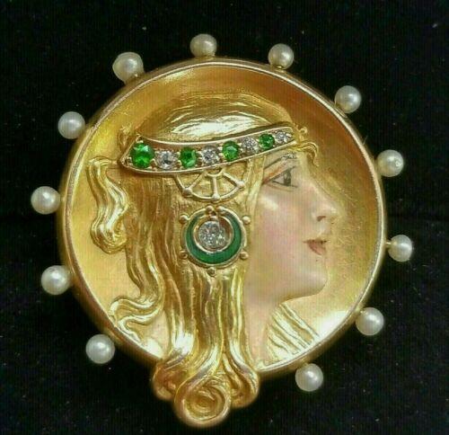 Art Nouveau 14k Gold Diamond Demantoid Garnet Pearls Enamel Lady Brooch Pendant