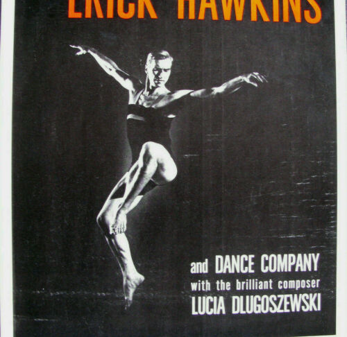 "1964 ERICK HAWKINS & CO. Concert Poster Window Card 14x22"" VINTAGE MODERN DANCE"