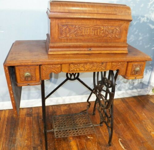 Antique 1890s Treadle 3 Drawer Carved Oak Cabinet Sewing Machine White Co.