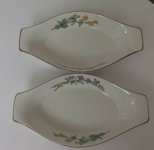 (2) Citation Woodhill Bakeware Single Serving Dish Oval Flowers Au Gratin