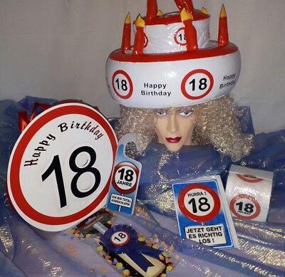 "Geburtstag-Geschenk-Set 3 ""18"" 6-tlg. volljährig inkl. Karte Türschild Toipa etc"