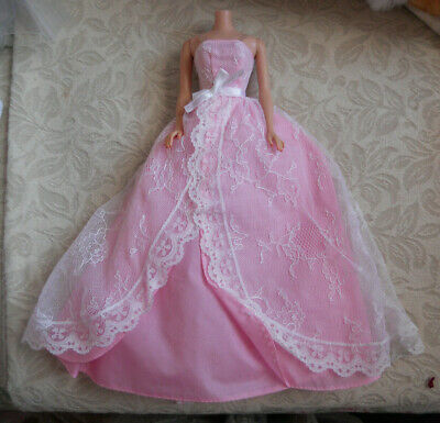 Barbie Pink Ball Gown with Lace Overlay Fashion Clothes For Barbie Doll