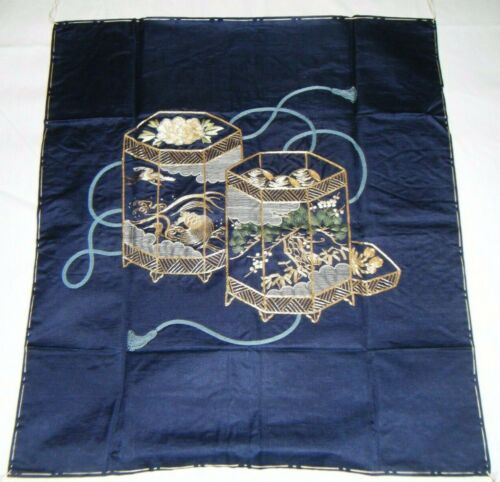 Meiji Antique Embroidered Japanese Fukusa Decorative Wall Art - Shell Game - F37