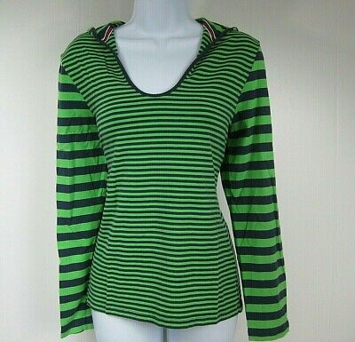 Long Blue Willow (Willow Bay Size M Green Blue Striped Long Sleeve Hooded Top)