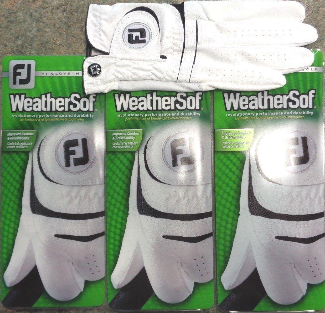 Купить THREE (3) NEW FootJoy WeatherSof Golf Gloves, PICK SIZE, #1 Glove in Golf, WHITE