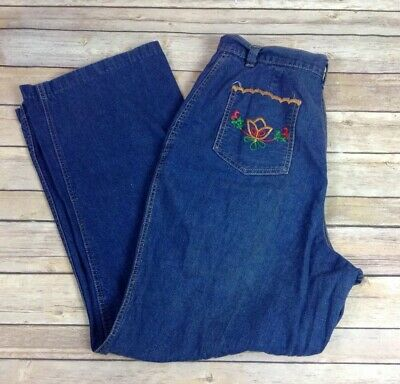 Vtg 70s Early 80s UNIQUE Womens Jeans Wide Leg High Waist 32x29 Flower Pockets