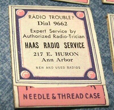 3 VINTAGE HAAS RADIO SERVICE, 217 E.HURON, ANN ARBOR, MI NEEDLE & THREAD CASES