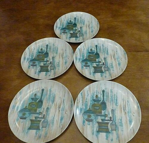 Vintage Texas Ware Mid Century Melamine Dinner Plates, Kitchen Design - Five (5)