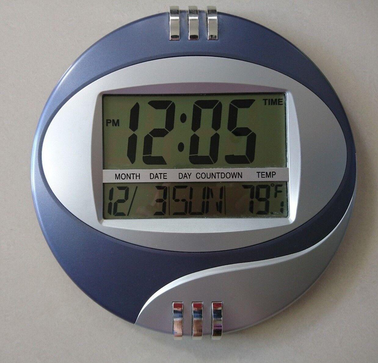 large 5.5cm time display 10''/27cm Round Digital Clock, Alarm, Temp, Calendar.