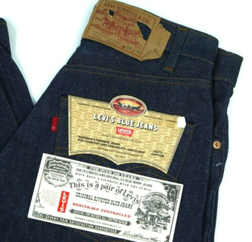 Vintage Levis NOS 505-0217 Dark Blue Jeans Mens 28x36 NWT Deadstock Denim 80s
