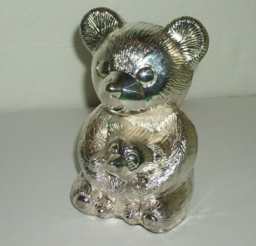 Vintage Silver Plated Mama Teddy Bear & Baby Bear Bank Collectable
