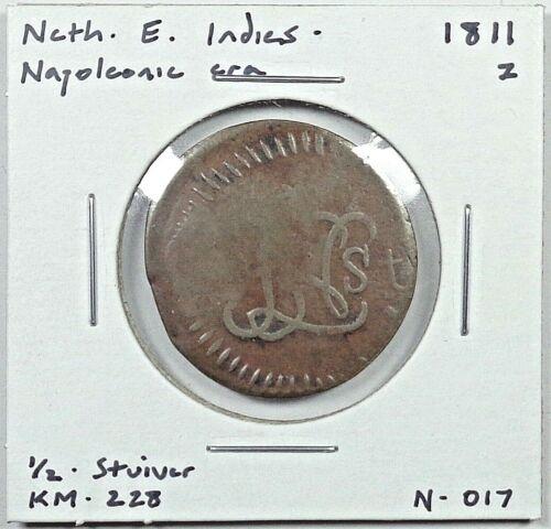 1811 Z Netherlands East Indies - Napoleonic Rule 1/2 Stuiver, KM-228.