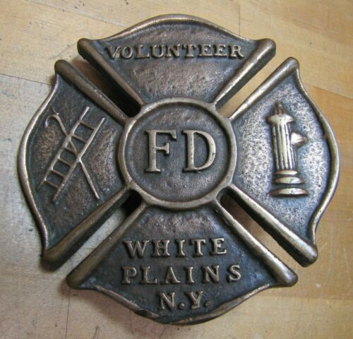 VOLUNTEER FD WHITE PLAINS NY Old Brass Auto Truck Fire Department Plaque Sign Ad