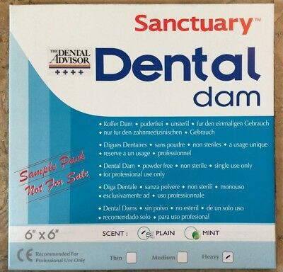 Free Sample Pack 3pk Sanctuary Dental Rubber Dam Latex 6x6 Heavy Blue Wholesale