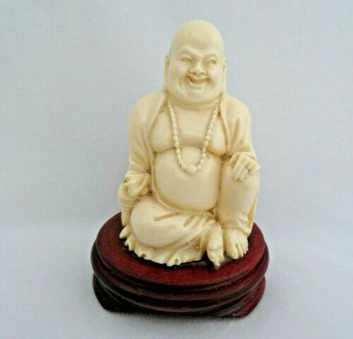 Vintage Chinese Buddha Statue Figurine on Wood Stand