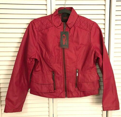 New York Yoki Youth Girls Big Kids Faux Leather Jacket Coat Outerwear Size 16 XL