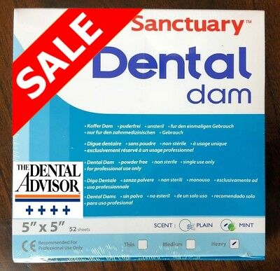 Sanctuary Dental Rubber Dam Latex 5x5 Heavy Mint Sheet Green 52pk -high Quality
