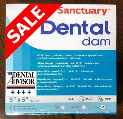 Sanctuary Dental Rubber Dam Latex 5x5 Heavy Mint Sheet Green 52pk -high Quality
