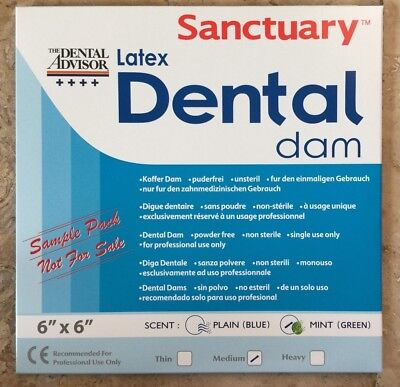Free Sample Pack 3pk- Sanctuary Dental Rubber Dam Latex 6x6 Medium Mint Green