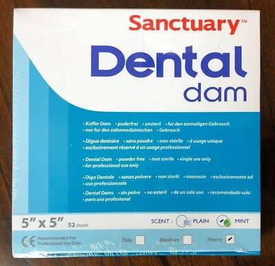 Sanctuary Dental Rubber Dam Latex 5x5 Heavy Mint Green 52pk Quality Guarantee