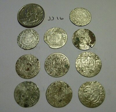 1600s  Silver Medieval 10 Coin lot. jj16