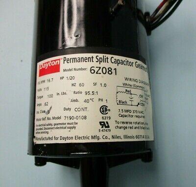 New Dayton Permanent Split Capacitor Gearmotor Model 6z081 - 17 Rpm 115v - 1pc.