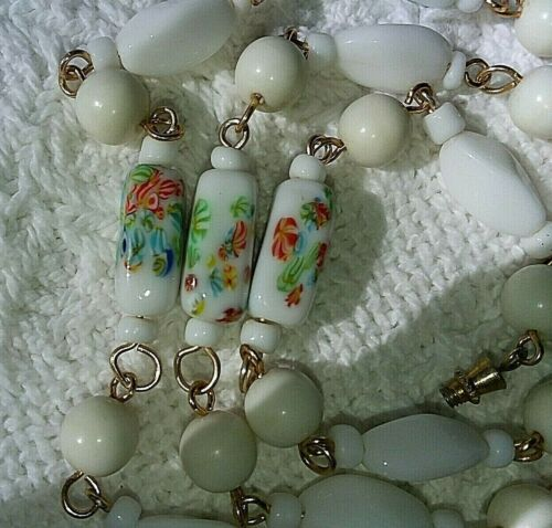 Vintage Asian Porcelain Handed Painted Bead Necklace 23""