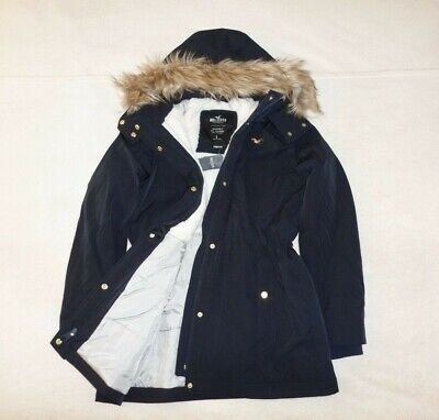 Womens Hollister by Abercrombie & Fitch All-Weather Quilted Fur Jacket Size L