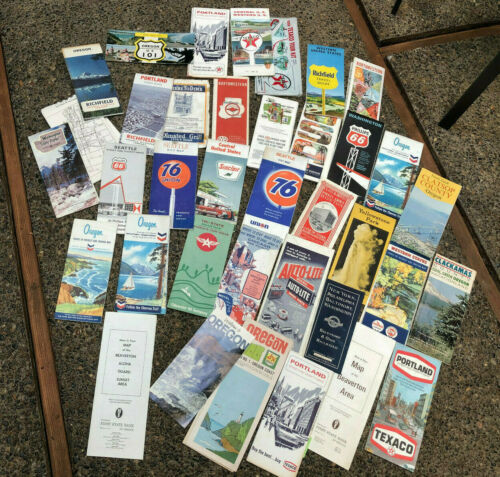 Variety 36 Vintage US Maps Flying A Mobile Texaco 76 Union Richfield 1913-1970