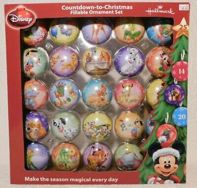 25pc Hallmark Disney COUNTDOWN TO CHRISTMAS Fillable Metal Ornament Advent Set