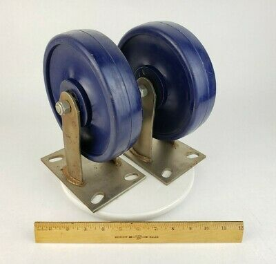 2x Industrial 8 Heavy Duty Caster Wheel Fixed Polyurethane Non- Swivel Rubber