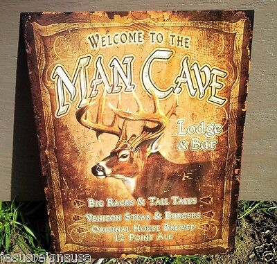 MANCAVE LODGE and BAR Hunting Outdoors Tin Metal Sign Wall Garage Classic