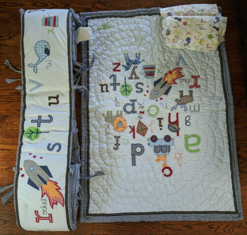 Pottery Barn Kids  Alphabet ABC Crib Bedding Quilt, Fitted Sheets and Bumper