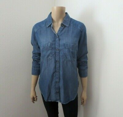 Nwt Abercrombie Mujer Talla Pequeña Chambray Botón Abajo Camisa