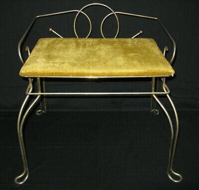 Vintage Metal Pearl Wick Mid Century Modern Vanity Seat Stool Bench Chair Metal Modern Bench