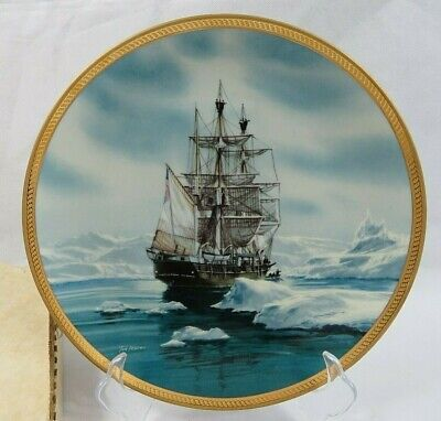 1987 Sailing Ship Charles W. Morgan Collector Porcelain Plate By Tom Freeman