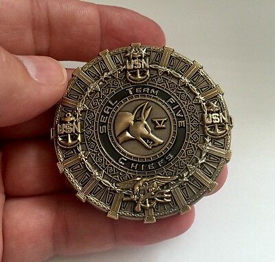 USN NAVY SEALS SEAL TEAM 5 V FIVE CPO CHIEF NSW TRIDENT SKULL CHALLENGE COIN NEW