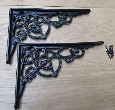 PAIR OF BLACK TRELLIS cast iron ornate shelf support wall brackets