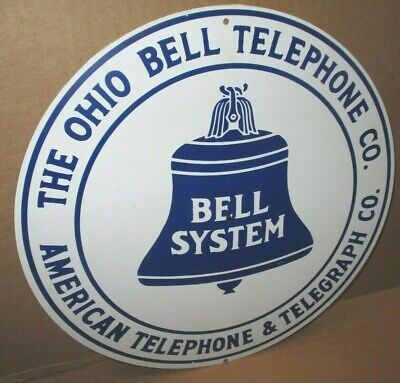 Ohio Bell Telephone Co - AMERICAN TELEGRAPH - Gas Station PHONE BOOTH Round SIGN