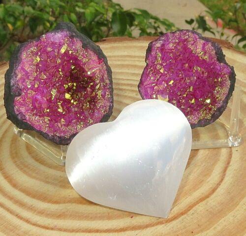 Pink Geode Pair W/Stands Crystal Quartz Gemstone Specimen Dyed Morocco/S. Heart