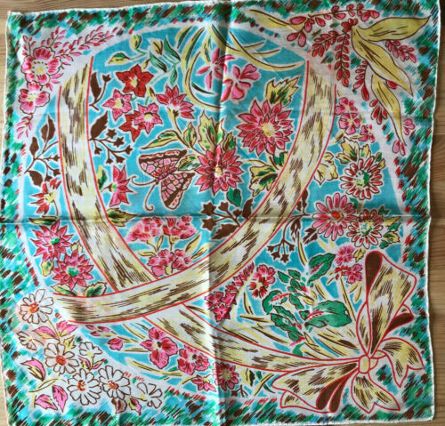 Vintage Ladies Silk Scarf Floral from the 50s pink yellow turquoise
