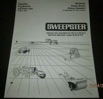 Sweepster Hb Series Rotary Broom Sweepers Operator Maintenance Parts Manual 1995