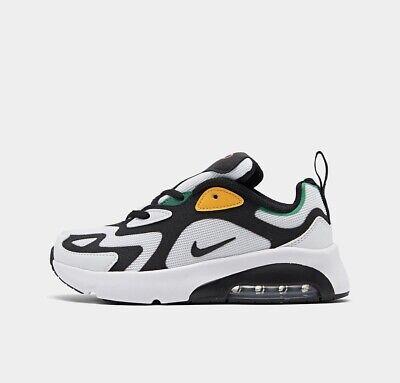 BOYS: Nike Air Max 200 Shoes, White/Black/Crimson - Size 1Y AT5628-100