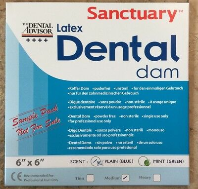 Free Sample Pack 3pk -------sanctuary Dental Rubber Dam Latex 6x6 Medium Blue