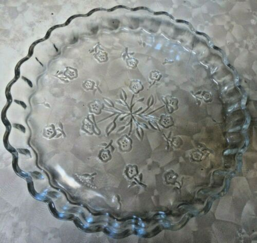 "Vintage Glass Pie Baking Dish 10"" Floral Design"
