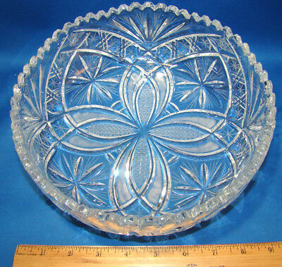 """American Brilliant Cut Glass Crystal Serving Fruit Bowl Saw Tooth 9"""" Vintage @10"""