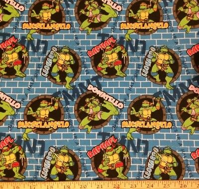 TMNT blue Turtle Power Sewer Holes & Names NEW Cotton Fabric BTY - Tmnt Fabric