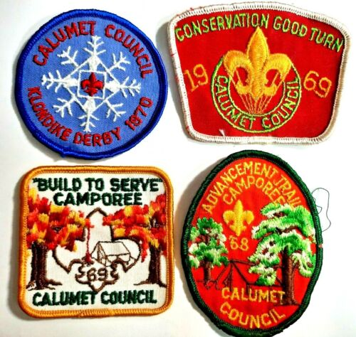 Lot of 4 vintage 1968, 69, and 1970 Boy Scout patches CALUMET COUNCIL pre-owned